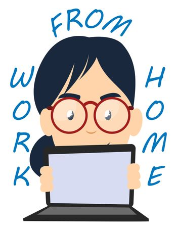Girl working from home, illustration, vector on white background