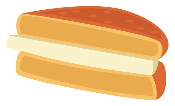Sandwich with cheese, illustration, vector on white background
