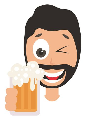 Man drinking beer, illustration, vector on white background