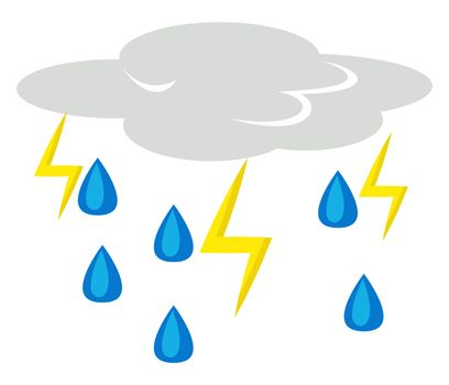 Thunder strikes, illustration, vector on white background