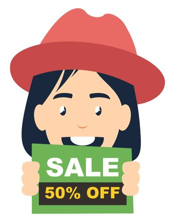Girl with sale sign, illustration, vector on white background