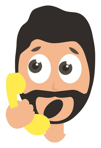 Man with yellow telephone, illustration, vector on white background