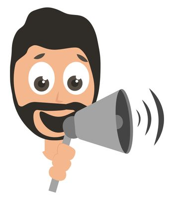 Man with megaphone, illustration, vector on white background