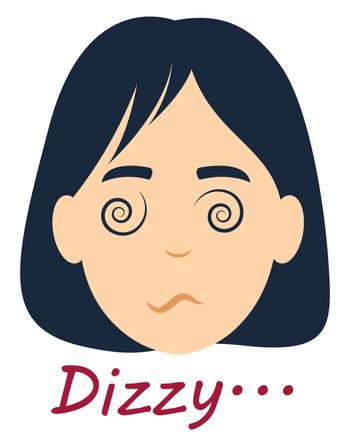 Dizzy girl, illustration, vector on white background