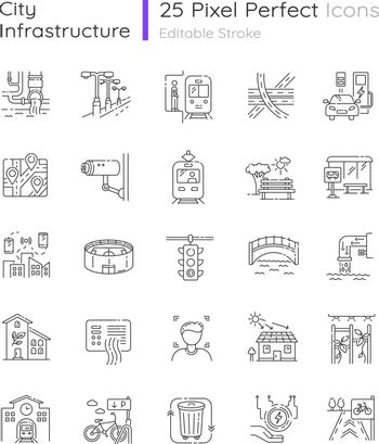 Urban infrastructure pixel perfect linear icons set