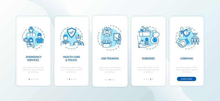 Community cooperation onboarding mobile app page screen with concepts