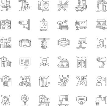 City infrastructure pixel perfect linear icons set