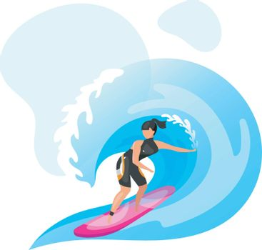 Surfing flat vector illustration. Extreme sports experience. Active lifestyle. Summer vacation outdoor fun activities. Ocean turquoise waves. Sportswoman isolated cartoon character on blue background