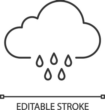 Rainy weather linear icon. Rain. Thin line illustration. Light rain. Drizzle or shower. Weather forecast. Contour symbol. Vector isolated outline drawing. Editable stroke