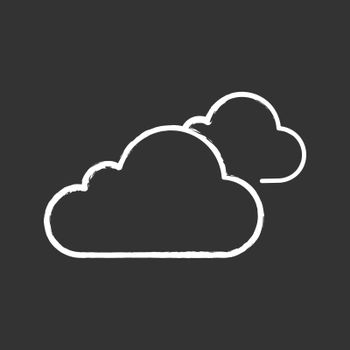 Cloudy weather chalk icon. Clouds. Heavy clouds. Overcast. Weather forecast. Isolated vector chalkboard illustration