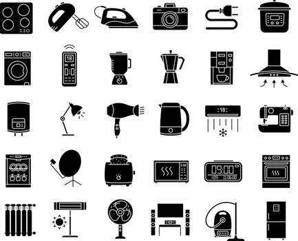 Appliance glyph icons set