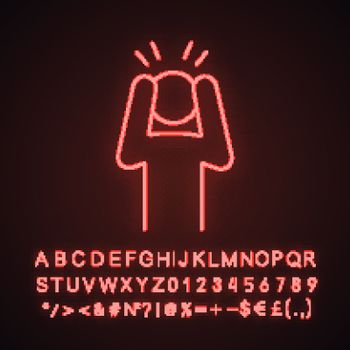 Anxiety neon light icon
