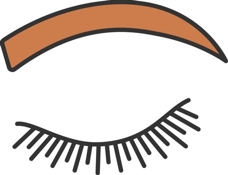 Rounded eyebrow shape color icon