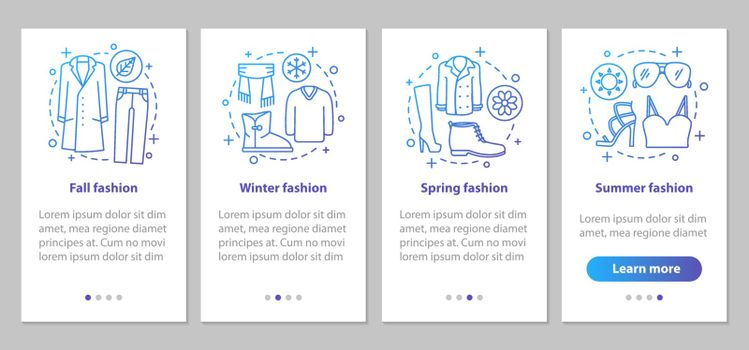Fashion collections onboarding mobile app page screen with linea