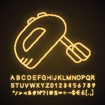 Handheld mixer neon light icon