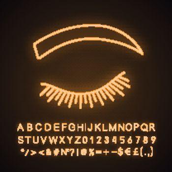 Rounded eyebrow shape neon light icon