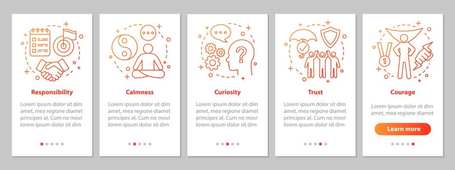 Human feelings onboarding mobile app page screen with linear con