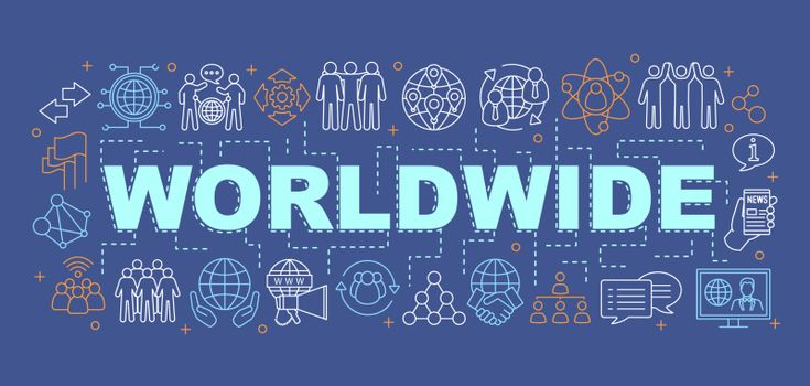 Worldwide communication word concepts banner