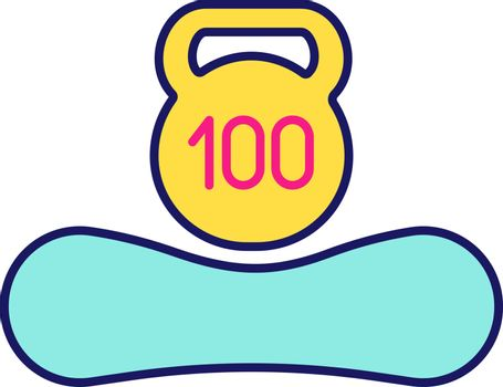 Maximum weight limit up to 100 kg color icon