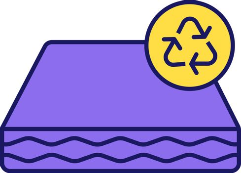 Ecological mattress recycling color icon