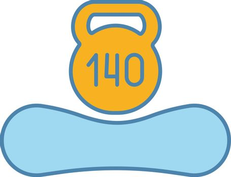 Maximum weight limit up to 140 kg color icon