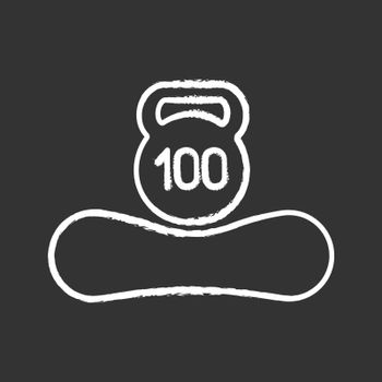 Maximum weight limit up to 100 kg chalk icon