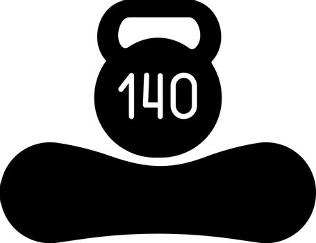 Maximum weight limit up to 140 kg glyph icon