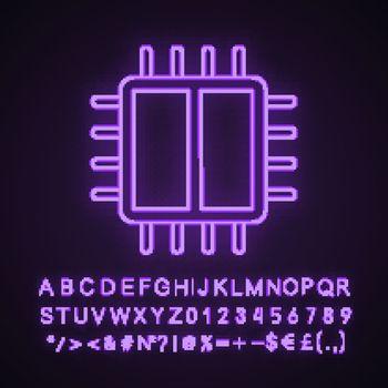 Dual core processor neon light icon