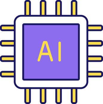 AI processor color icon