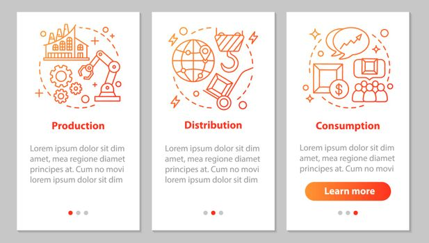Industrial sector onboarding mobile app page screen with linear concepts