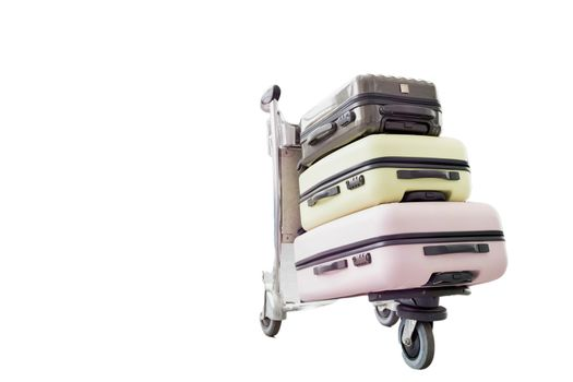 Cutouts of baggage cart with passenger suit case