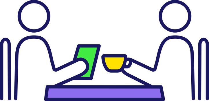 Business lunch color icon