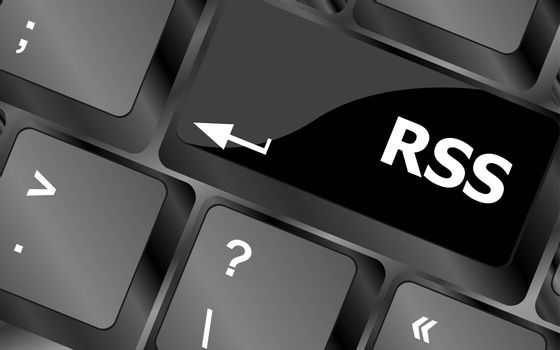 RSS button on keyboard key close-up