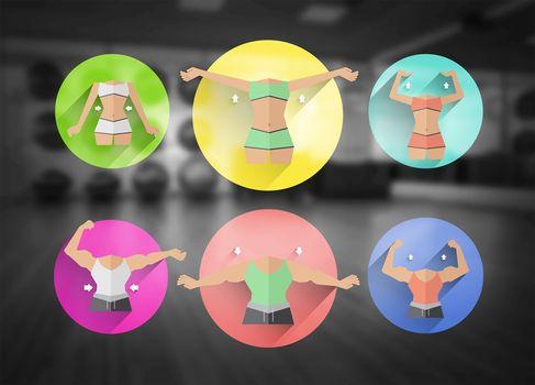 Female bodybuilding circles vector