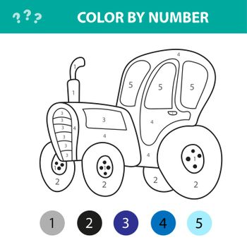 Vector illustration of coloring book tractor, coloring by numbers