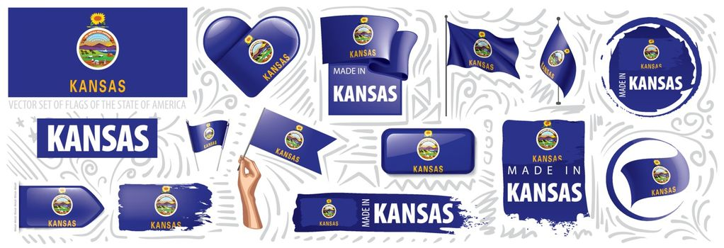 Vector set of flags of the American state of Kansas in different designs.