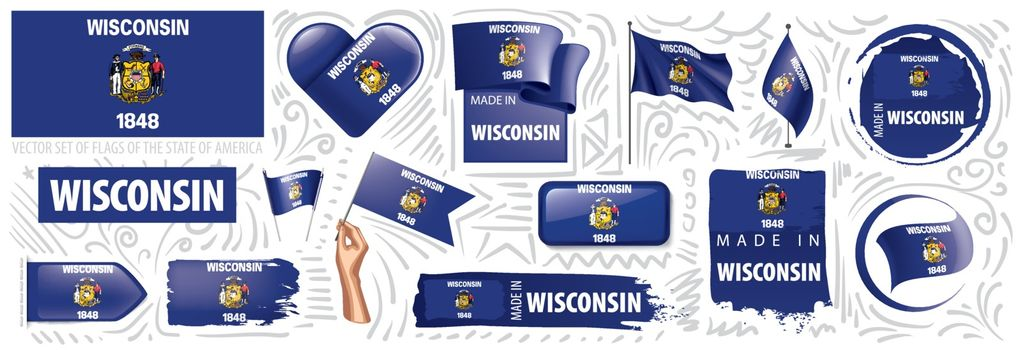 Vector set of flags of the American state of Wisconsin in different designs.