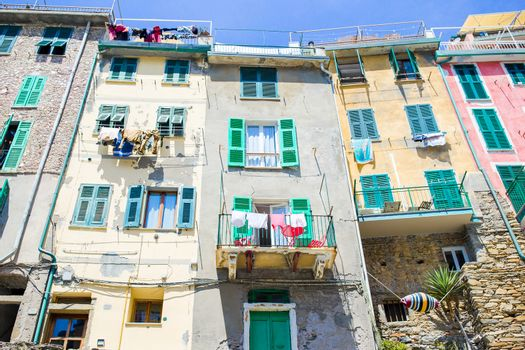 Typical houses in small town in Liguria