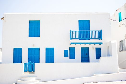 Traditional houses in the narrow streets of Mykonos, Greece.
