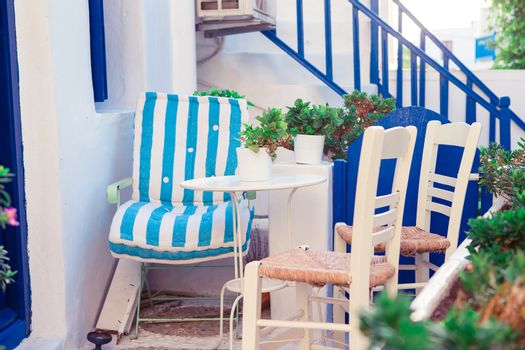 Beautiful terrace exterior with cycladic style.