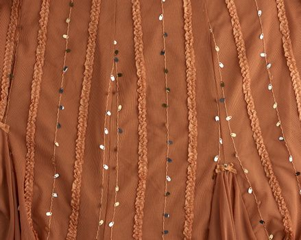 brown tulle with sequin embroidery and decor, textile for sewing