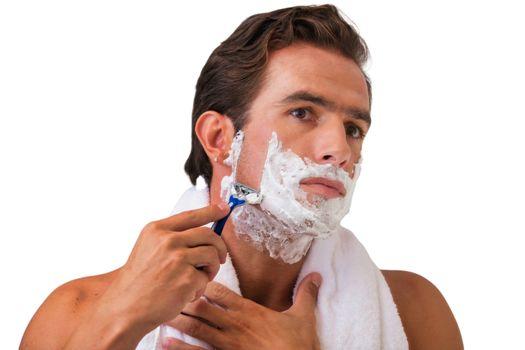 Cutout of man shaving his beard in the bathroom