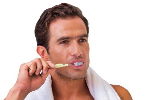 Cutout of man brushing his teeth in the bathroom