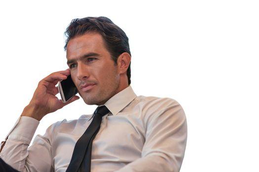 Cutout of businessman talking on smartphone
