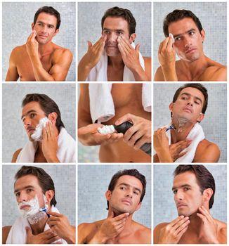 Photo of attractive man shaving his beard in the bathroom