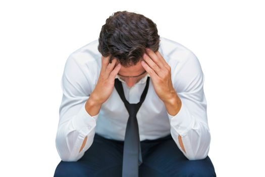 Cutout of stressed and overworked businessman sitting