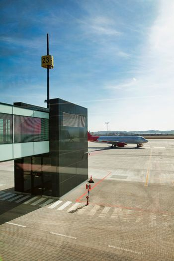 Photo of boarding gate in airport