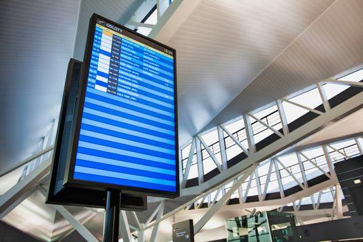 Flight display monitor in airport