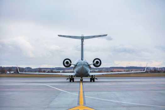 Rear view of airplane in airport