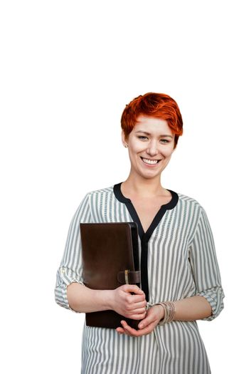 Cutout of businesswoman holding documents